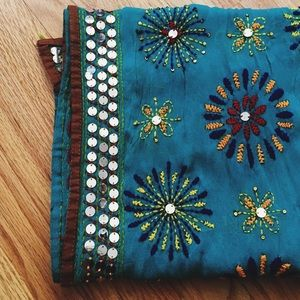 Bohemian Indian Silk Scarf Embroidered Mirrorwork!